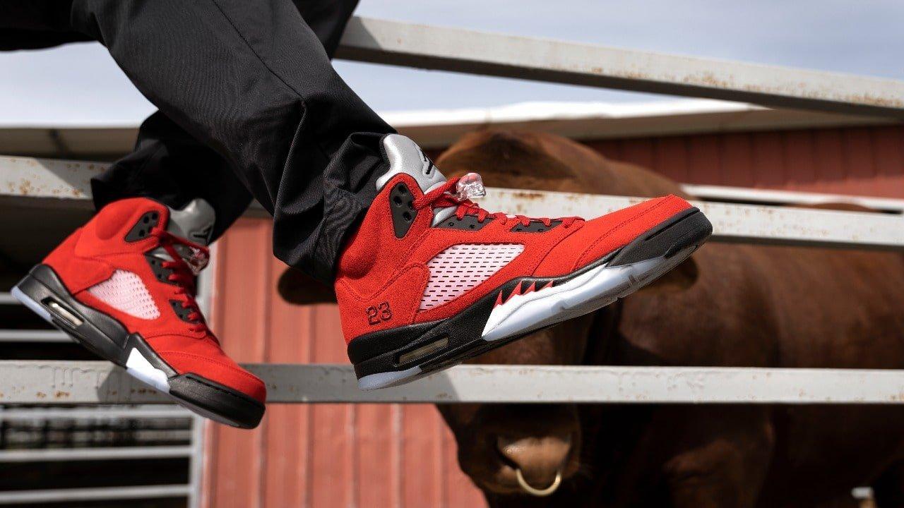 """Sneakers Release – Jordan 5 Retro """"Raging Bull""""/ """"Toro"""" Colorway ..."""