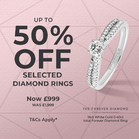up to 50% off selected diamond rings