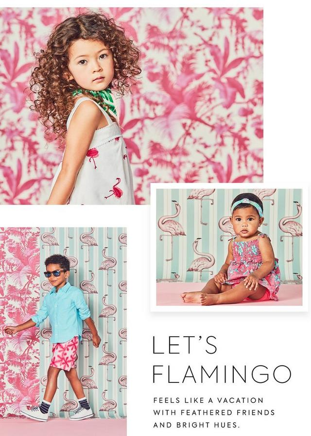Let's Flamingo; Feels like a vacation with feathered friends and bright hues. New Arrivals for Girl, Boy and Newborn.