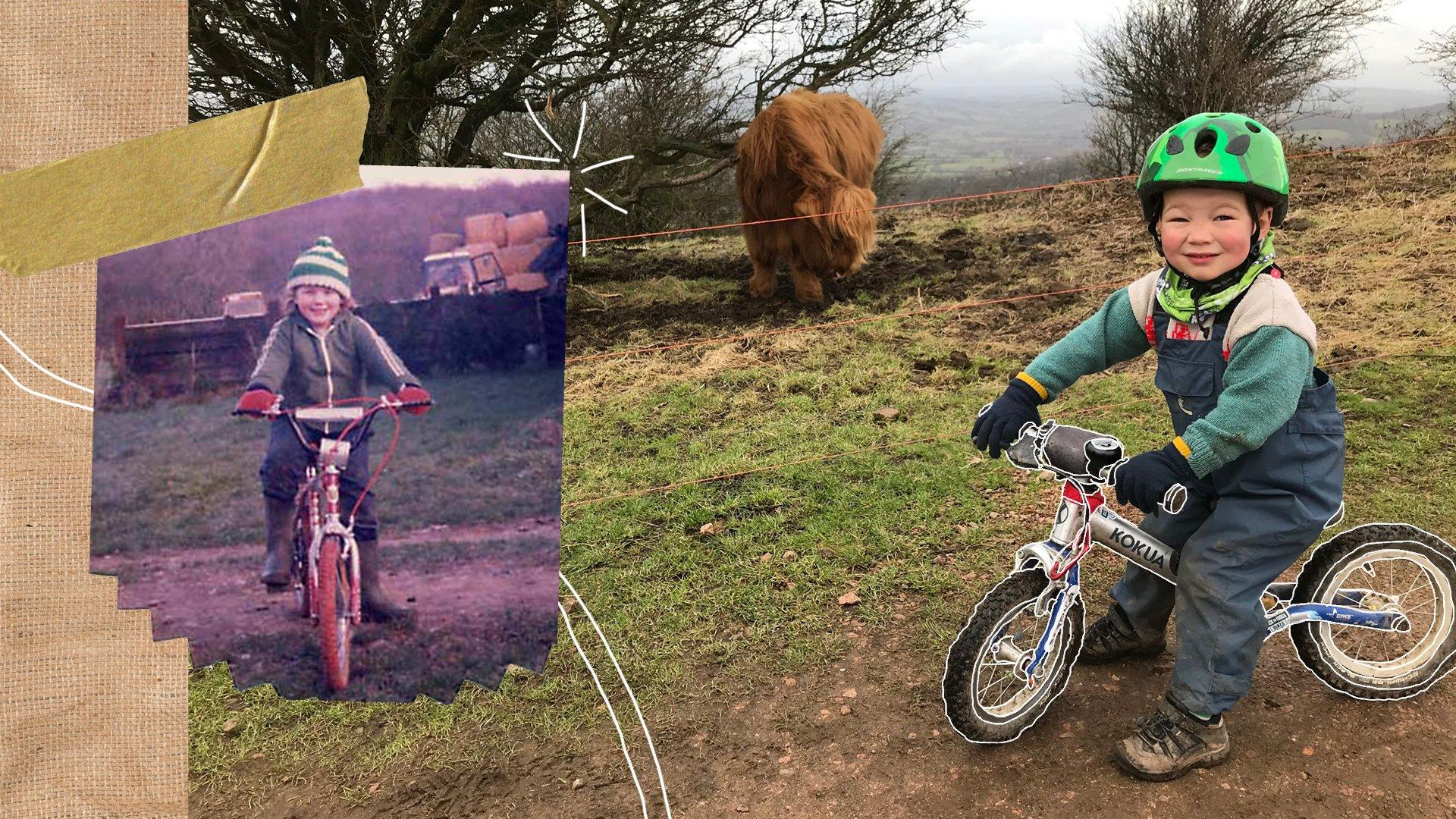An older photo of Tracy cycling next to an image of her son, Toby on his balance bike