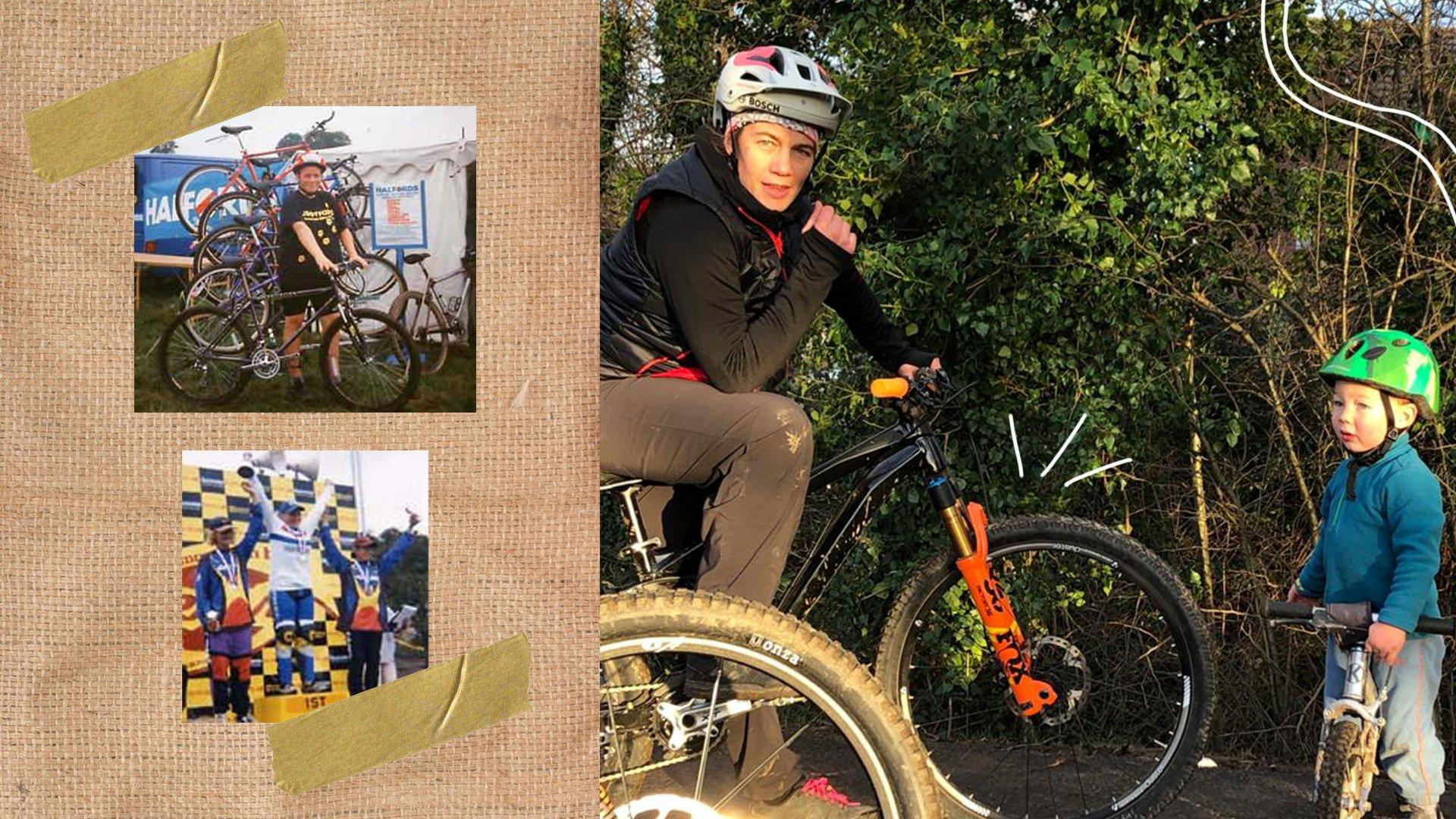 Older images of Tracy competing in mountain biking events next to an image of her and Toby on their bikes