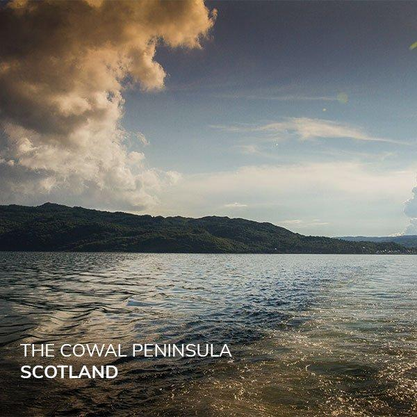 Image of calm water over the secret scenery of Cowal Peninsula in Scotland.