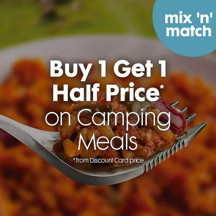 Buy 1 Get 1 Half Price on Camping Meals