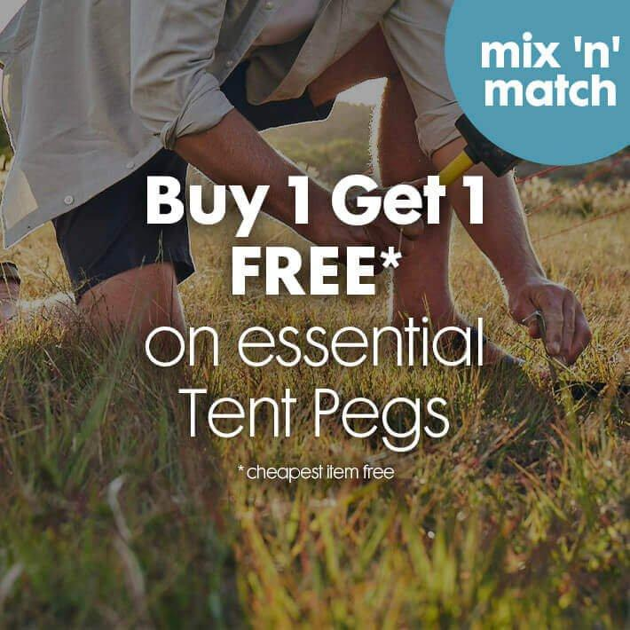 Buy 1 get 1 FREE* on essential tent pegs