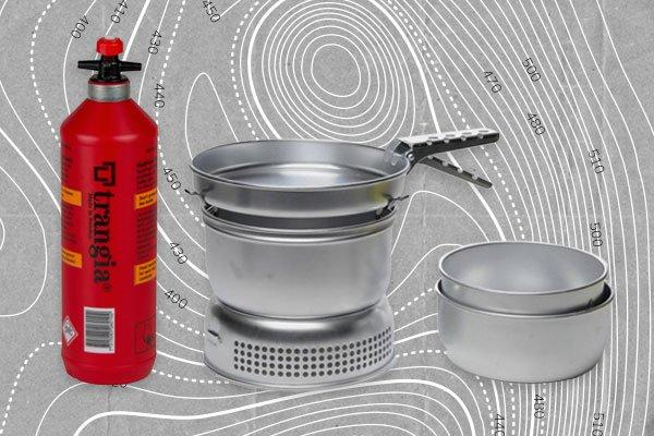 An image of Trangia cooking equipment alongside a bottle of Trangia gas