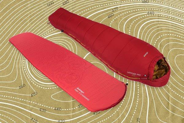 An image of a Vango Sleeping Bag next to an image of a Vango Self Inflating Mat