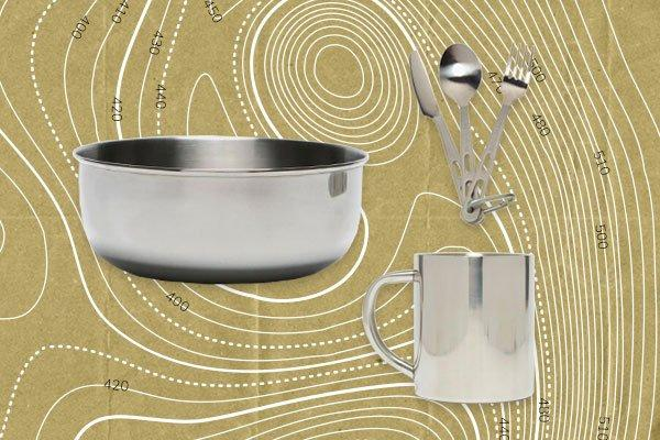 An image of a selection of Lifeventure cooking equipment including a bowl, mug and cutlery