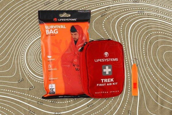 An image of a survival whistle, first aid kit and survival whistle