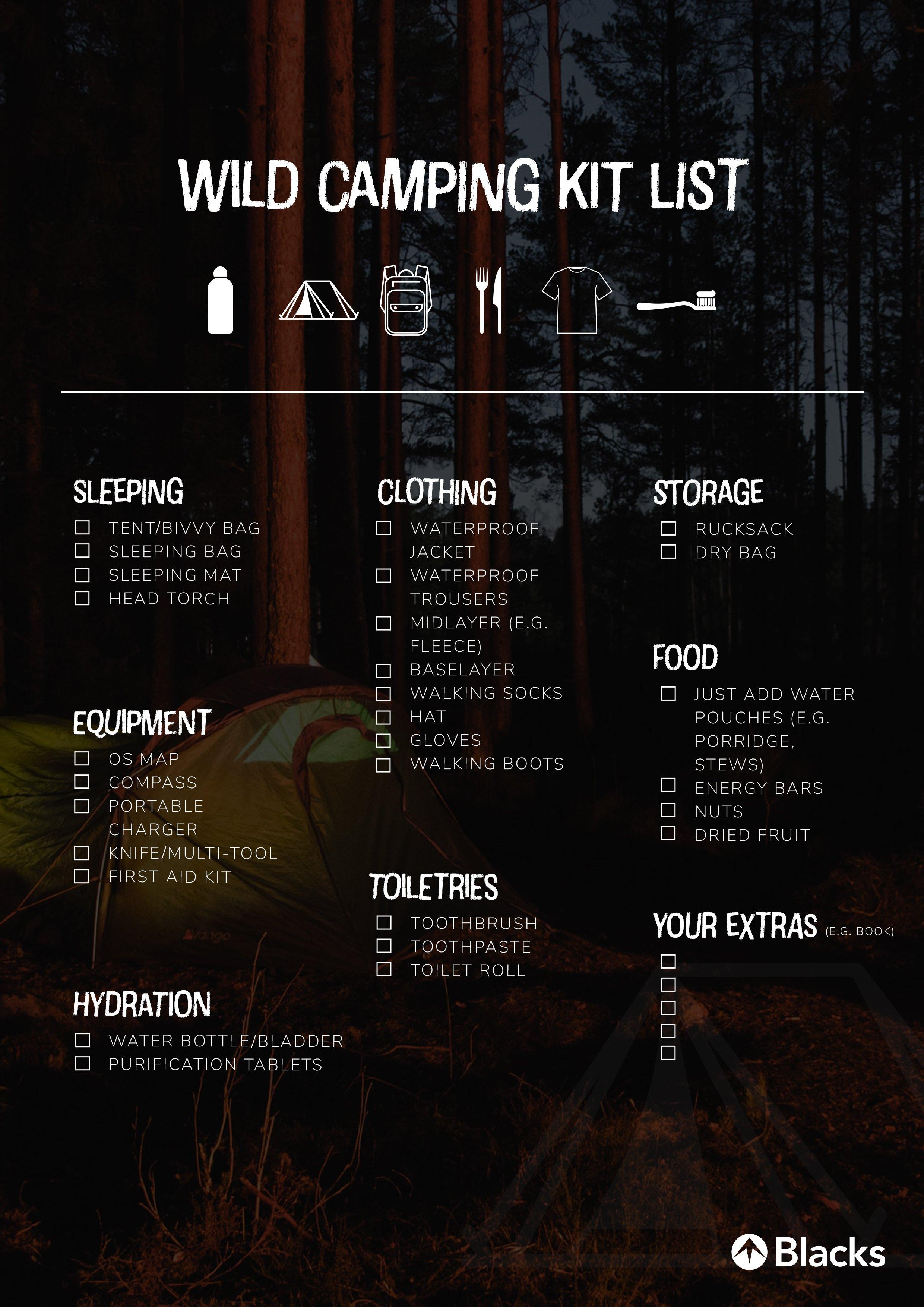 Wild camping kit list. A list of equipment needed for wild camping in the UK