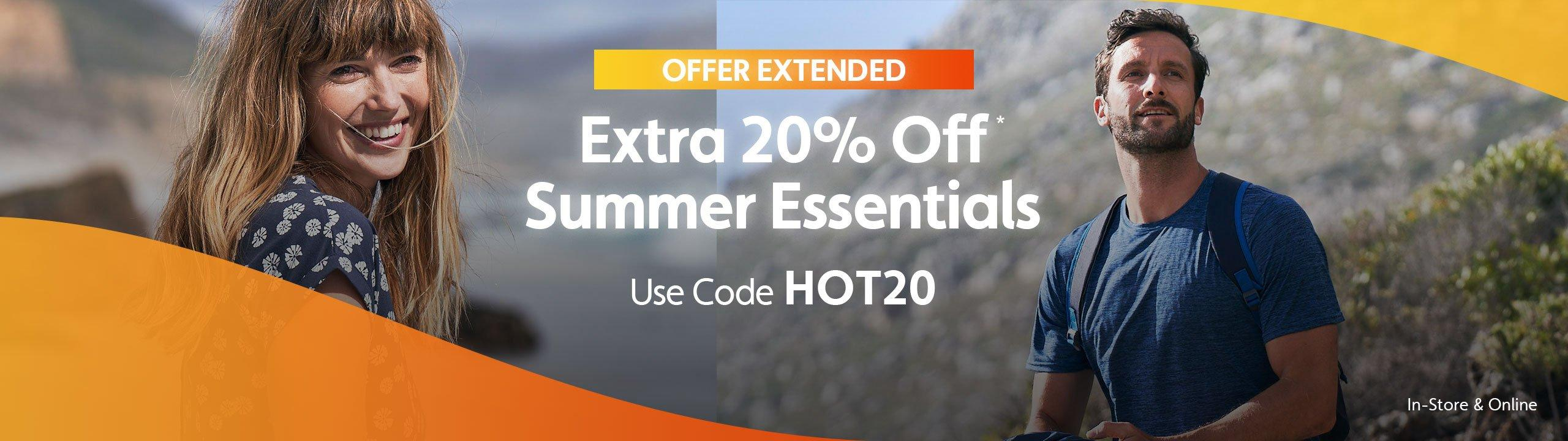 Extra 20% Off Summer Essentials - Offer Extended