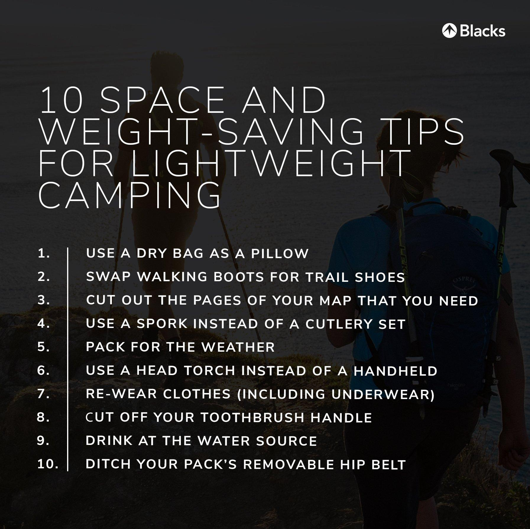 an infographic containing 10 tips for ultralight camping in the UK