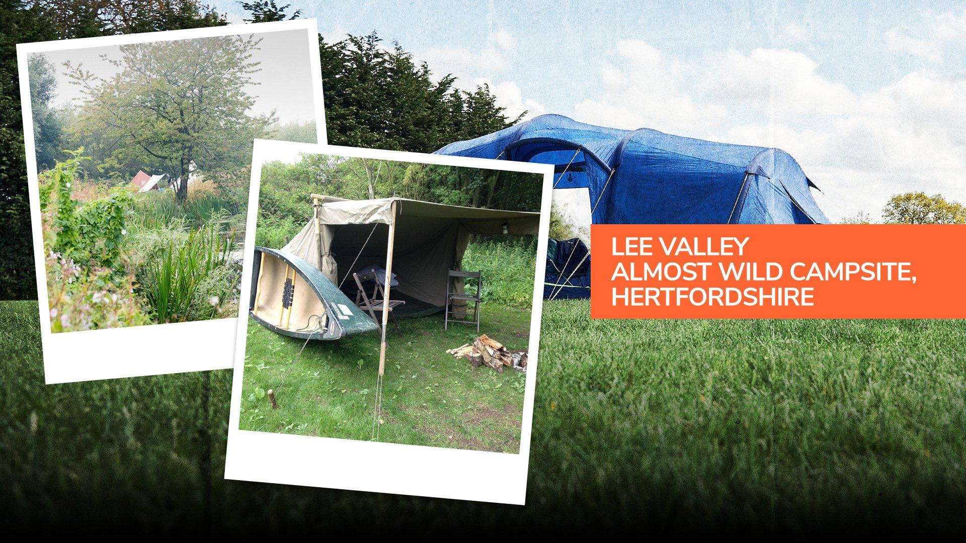 Tents pitched by the river at Lee Valley Almost Wild Campsite, Hertfordshire