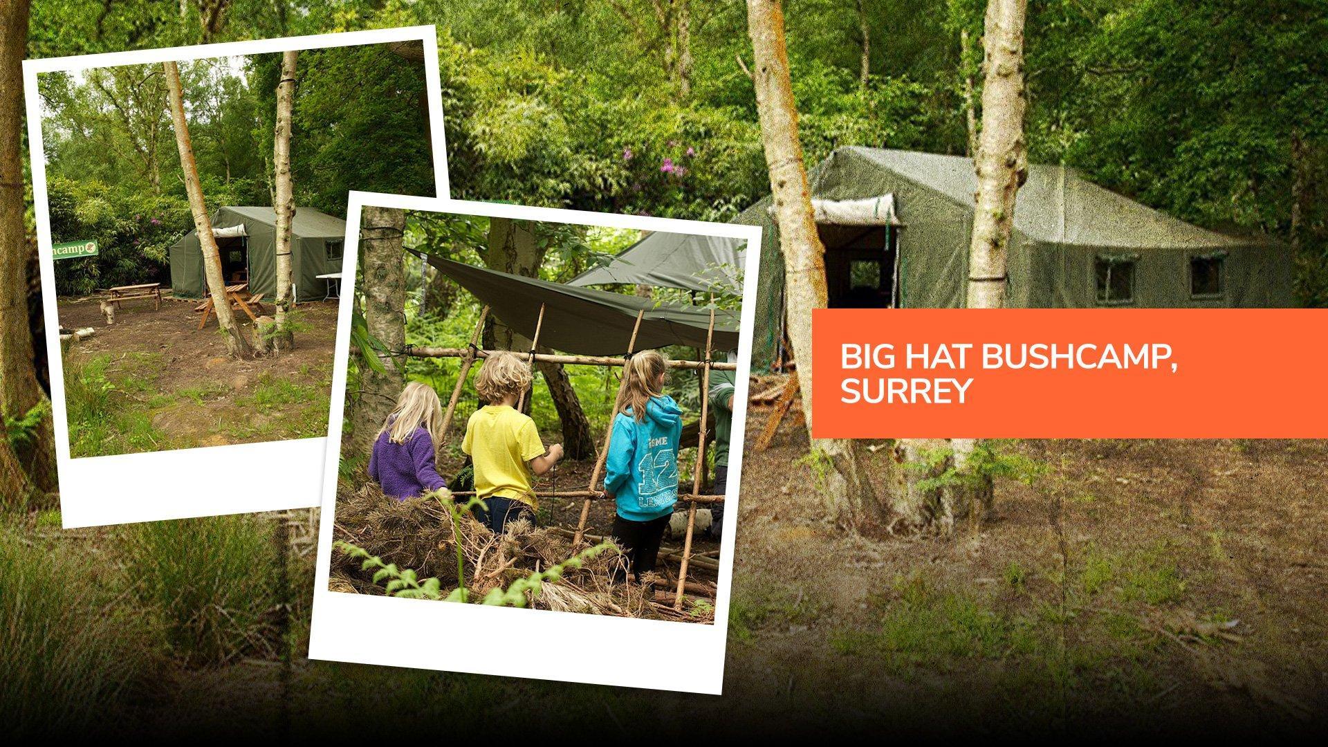 The entrance to Big Hat Bushcamp in Surrey