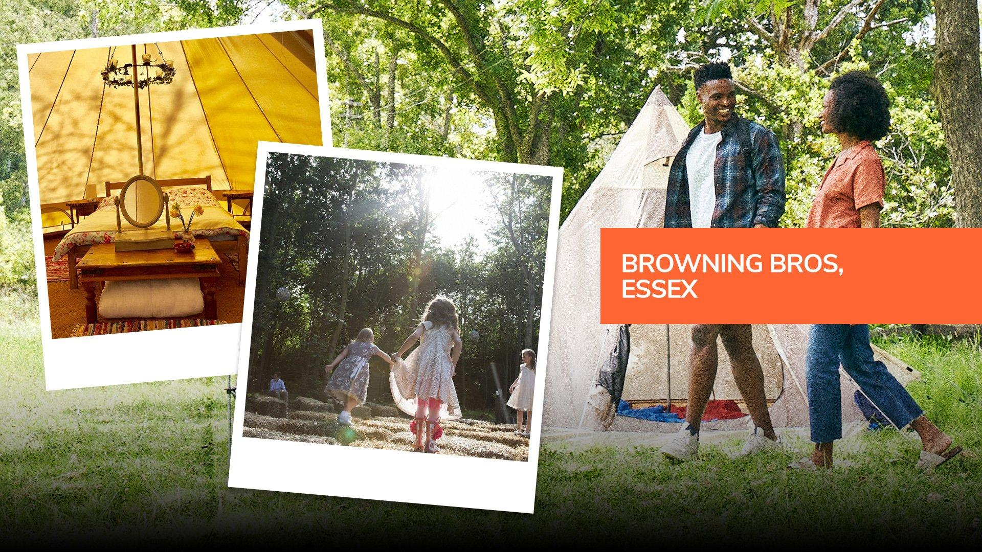 Children Playing at Browning Bros glamping in Essex