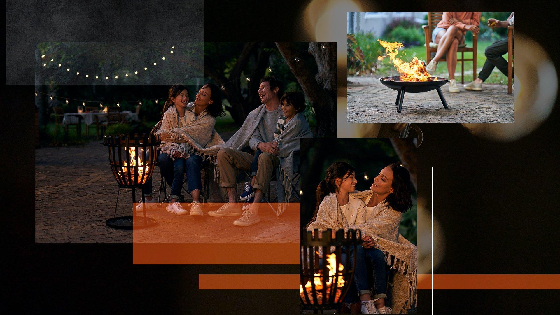 A collage of images showcasing a selection of fire pits in a night time setting, including a scene of a family of four gathered around a fire pit.