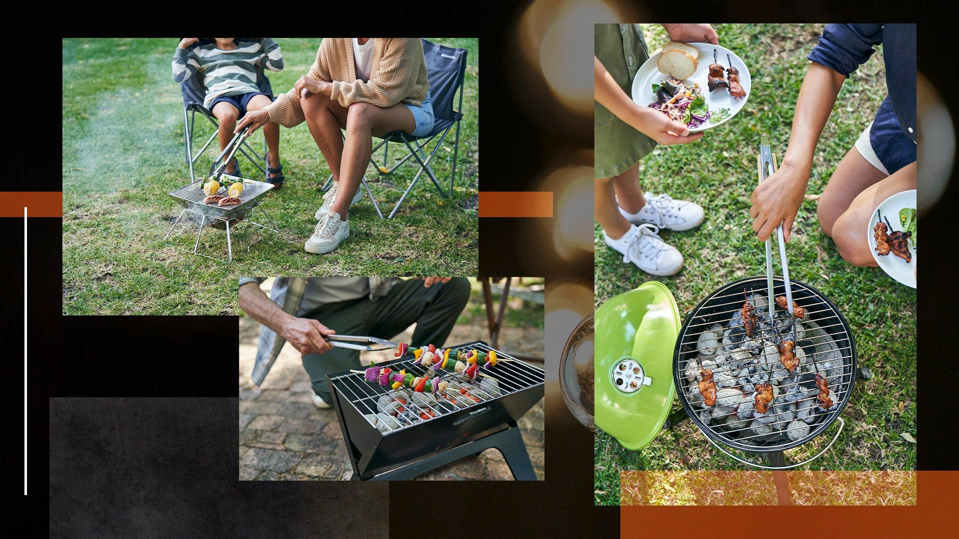 A collage of images showcasing BBQs in a daytime setting in a backgarden. The images shows a mother and father using various BBQs with their children.