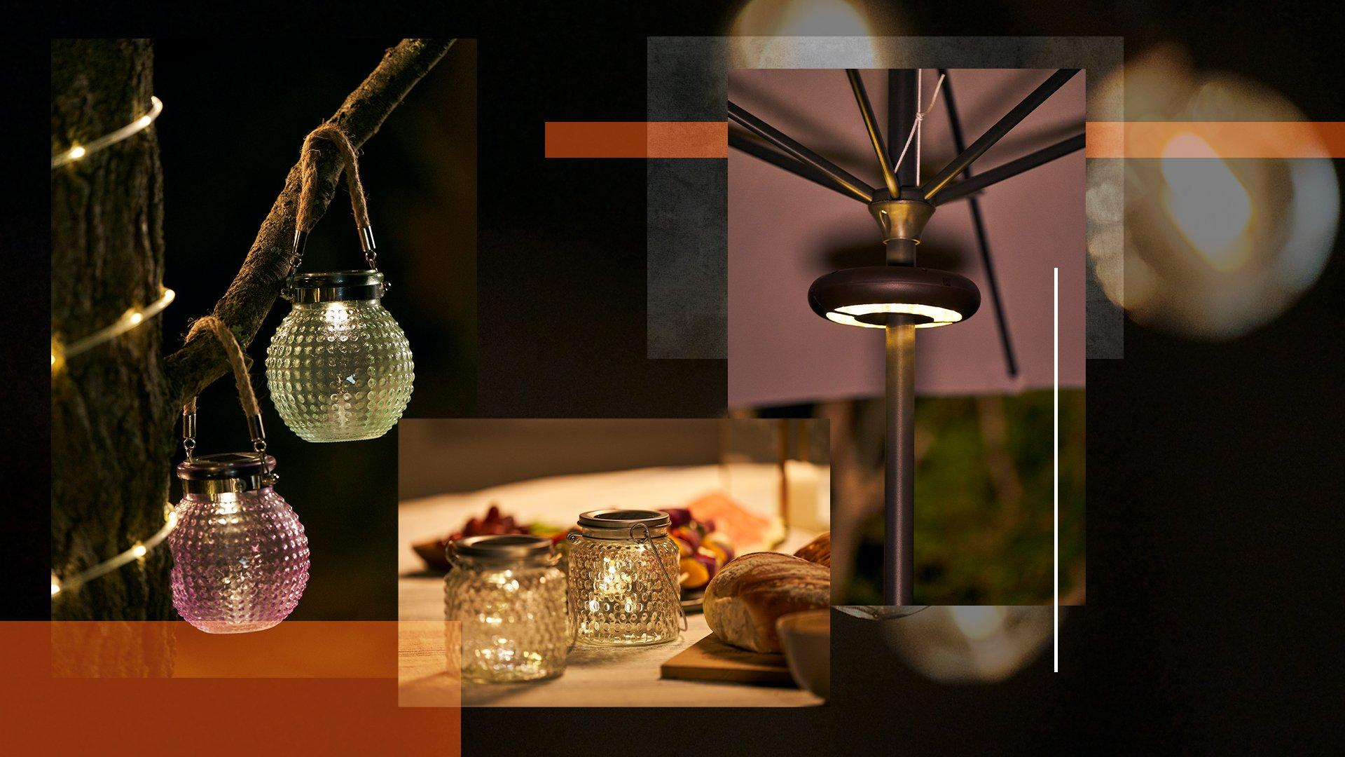A collage of images showcasing the selection of Hi Gear lights including an umbrella light and jar lights in a night time setting.