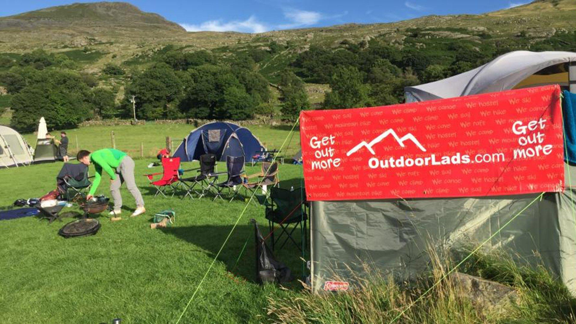 Outdoor Lads charity during a weekend of camping in the UK