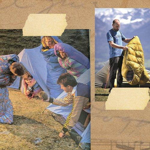 A collage of images showcasing a family from the 1980s wearing sleeping bags outside their tent whilst the father picks up a hedgehog. The second image shows a man unzipping a modern Robens sleeping bag outside his tent in the sunshine.