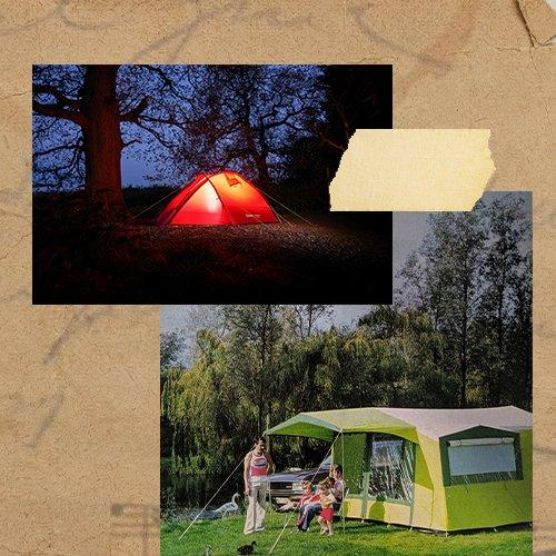 A collage of images showcasing a modern backpacking tent in a night time setting and a second image of a family sat outside a cabin tent in a field in the 1970s
