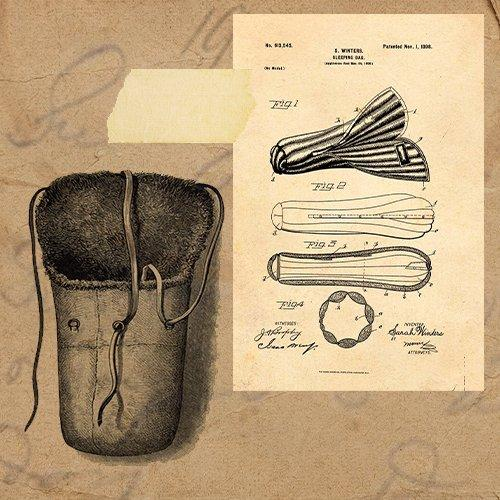 A collage of images showcasing an early three person buffalo sleeping bag used during Arctic exploration in the 1880s. The second image shows an early patent for a sleeping bag.