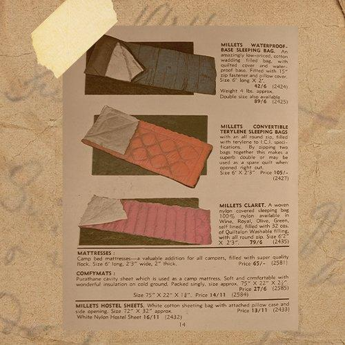 A selection of sleeping bags from an outdoors magazine in 1968