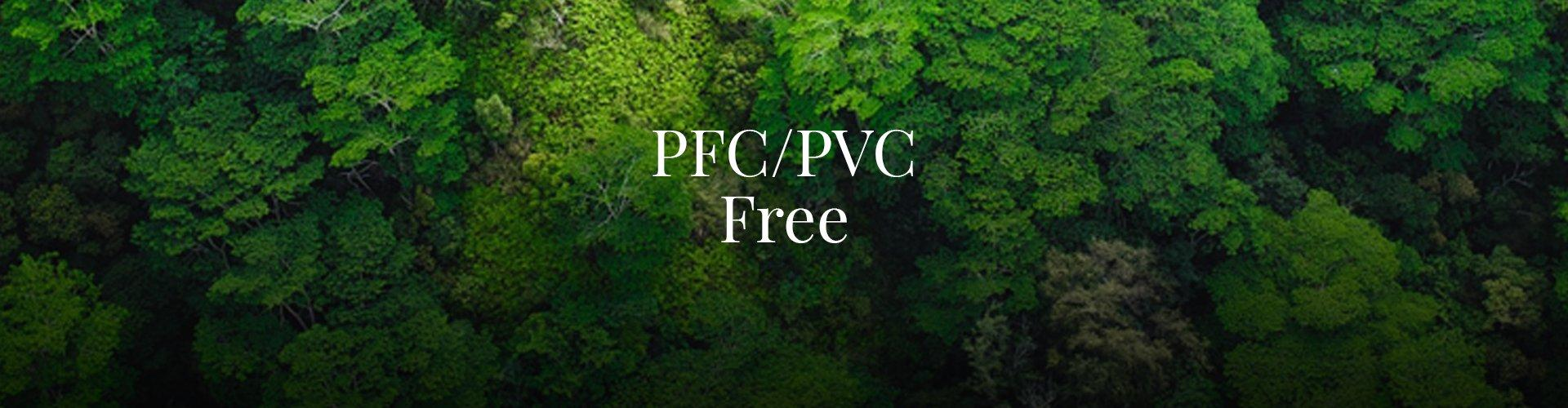 An aerial image of a green forest with text saying PFC/PVC Free
