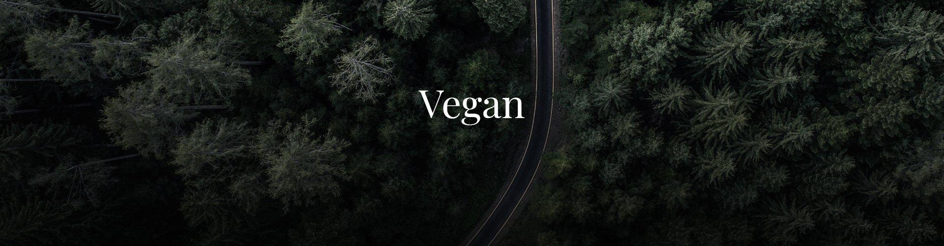 An aerial image of a forest with a road running through the middle with text saying vegan.