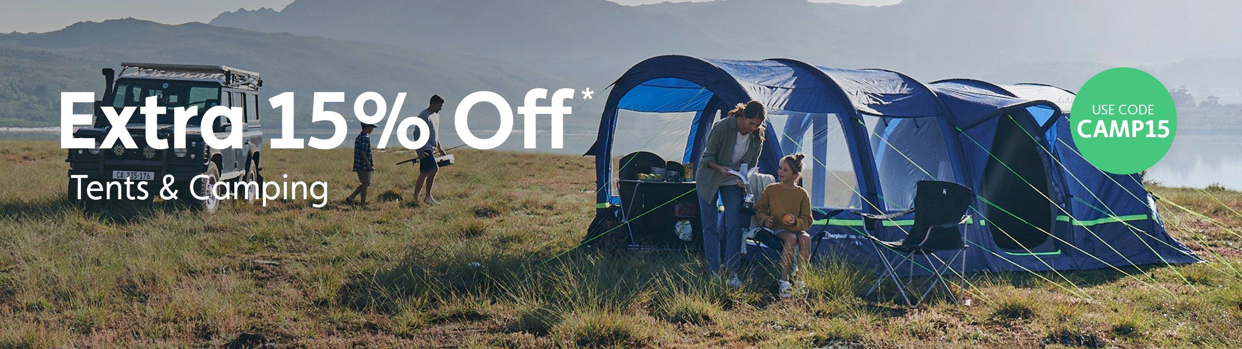 Extra 15% Off Tents & Camping