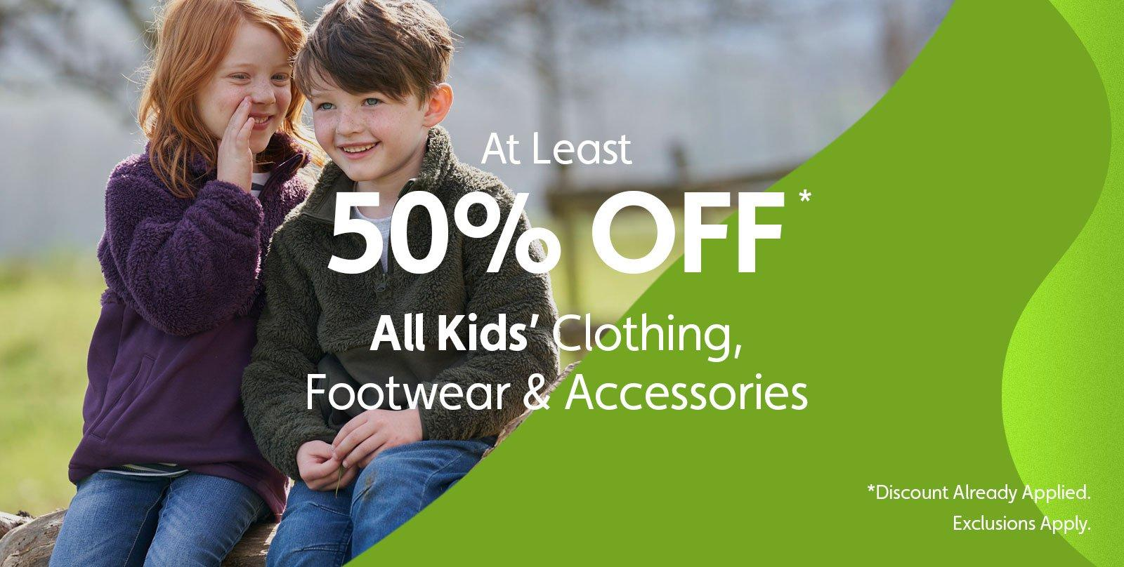 At Least 50% Off Kids'