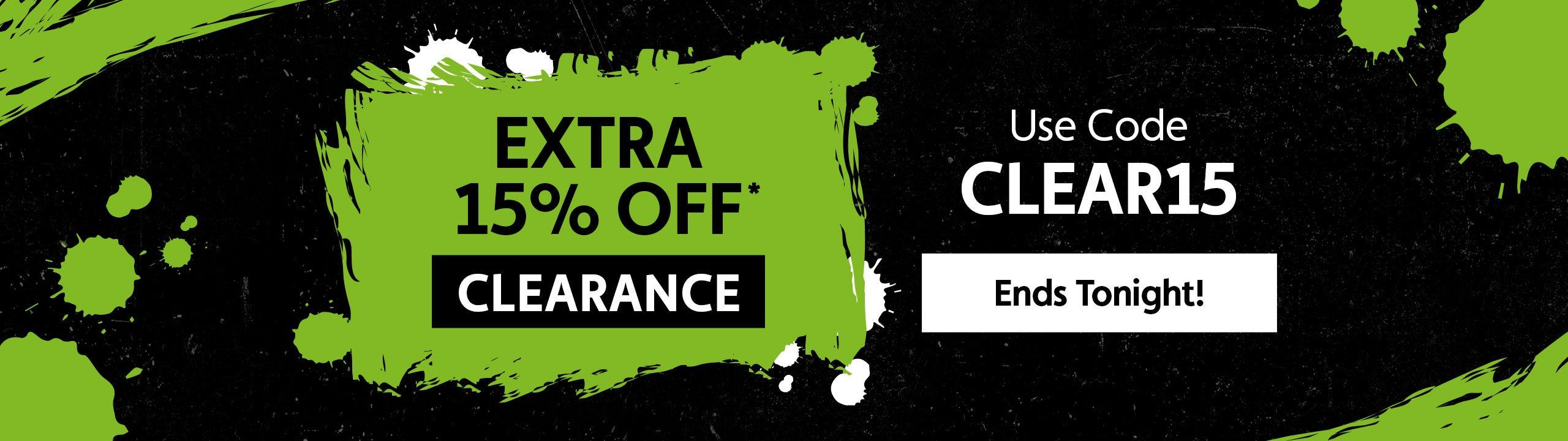 Extra 15% Off* Clearance