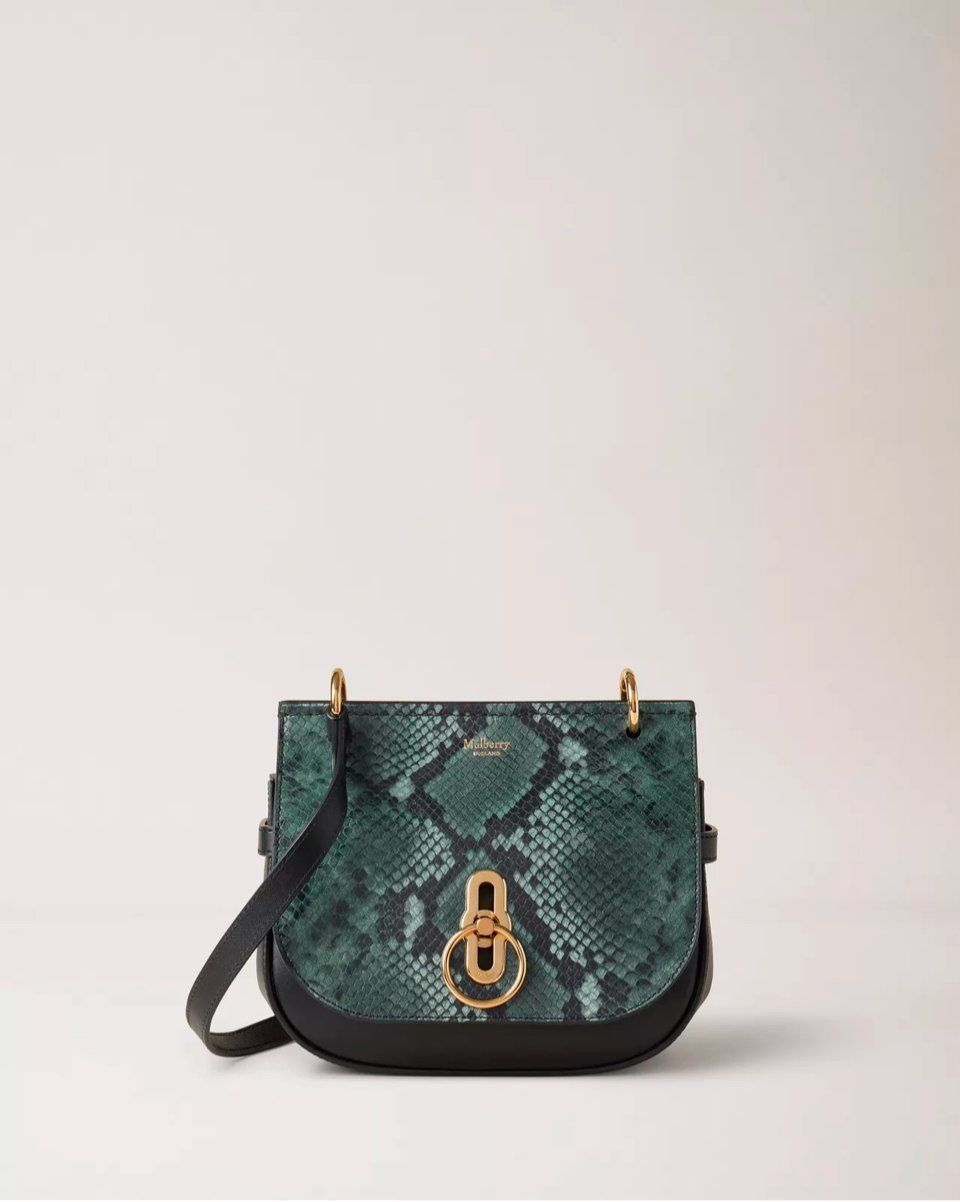 Small Amberley Satchel Mulberry Green Python Print