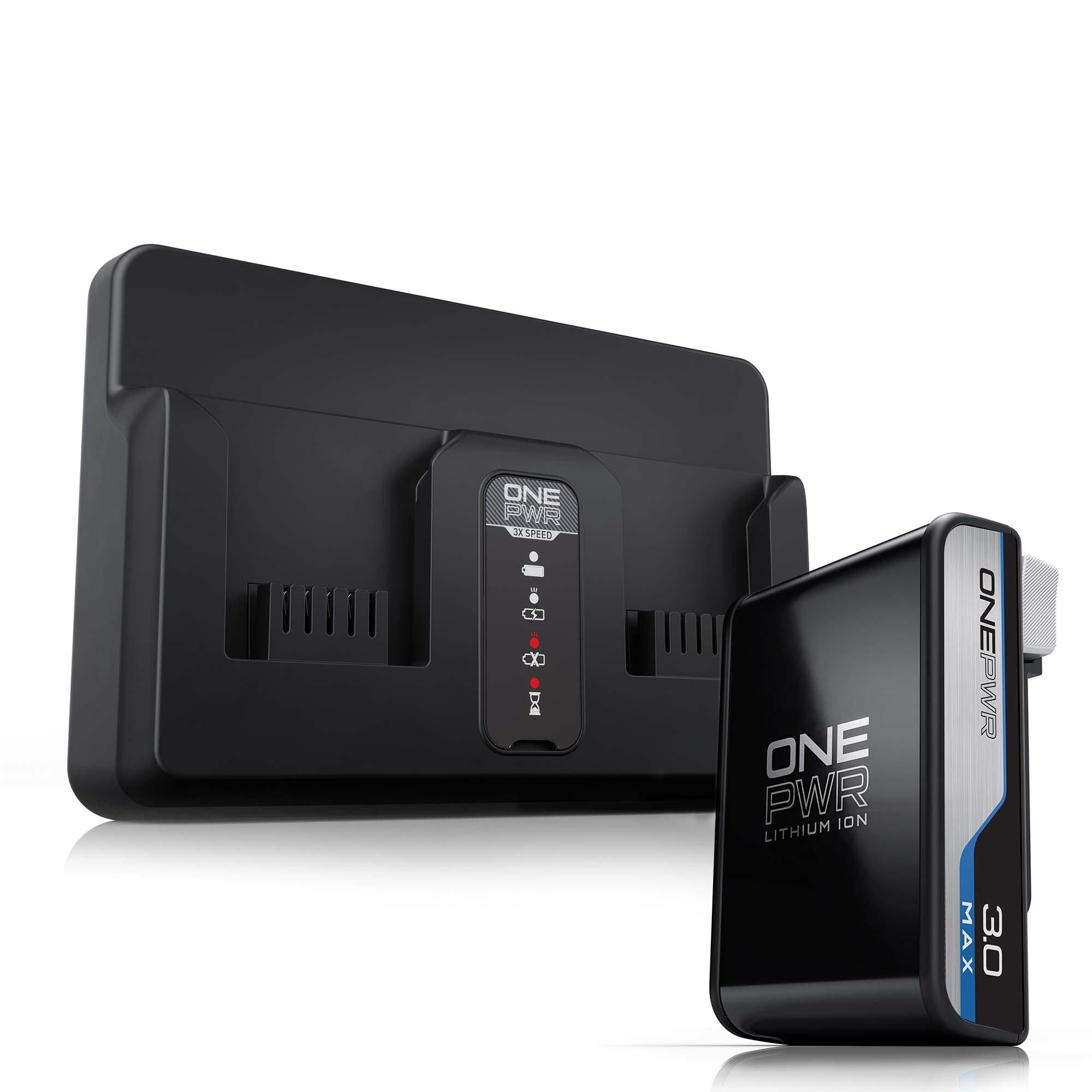 ONEPWR Dual Bay Charger with 3.0 Ah Battery