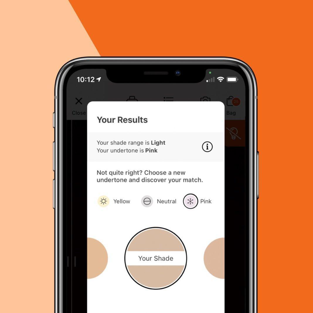 Screen showing Foundation Shade Matcher.