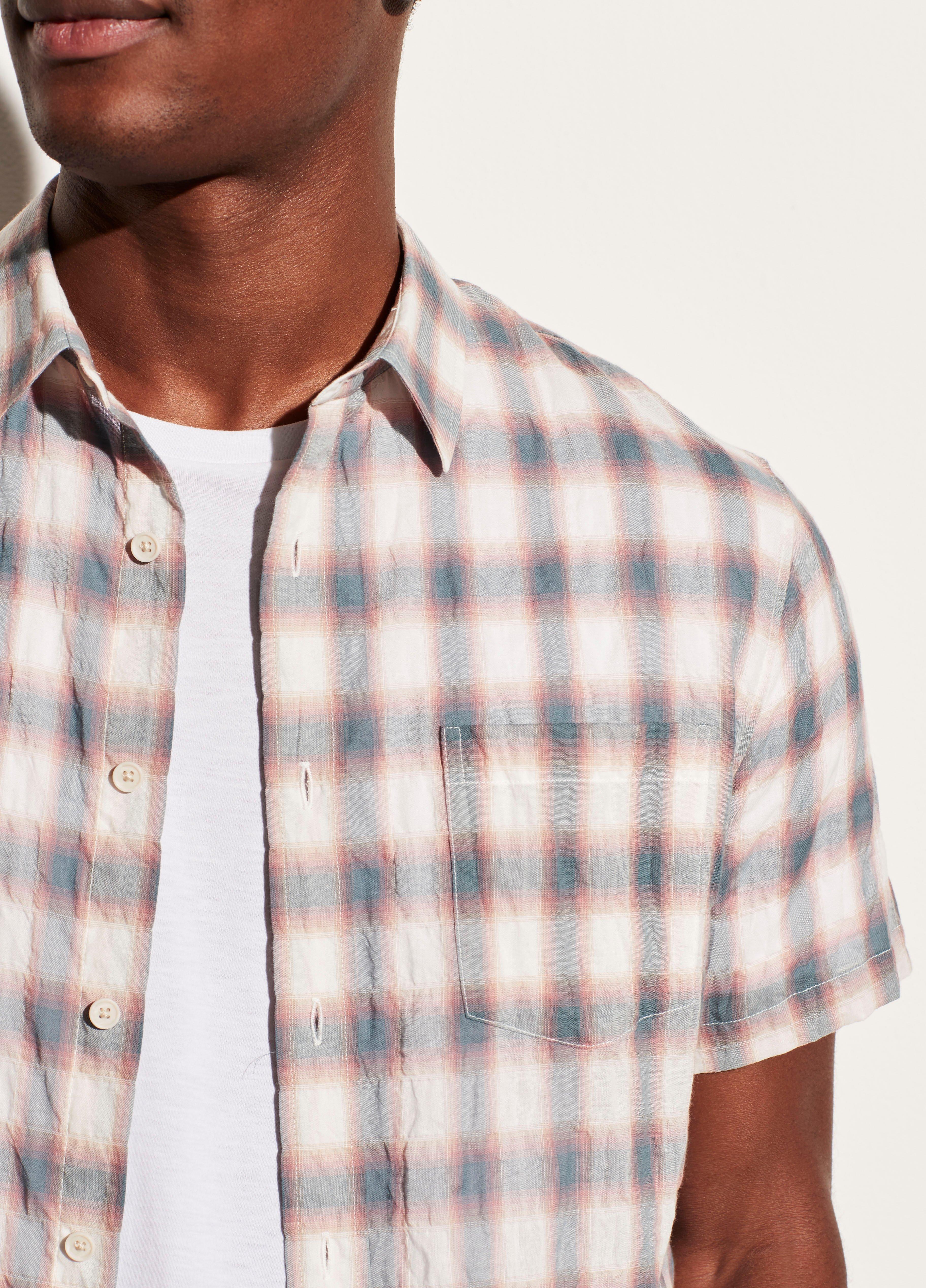 Multi Shadow Plaid Short Sleeve