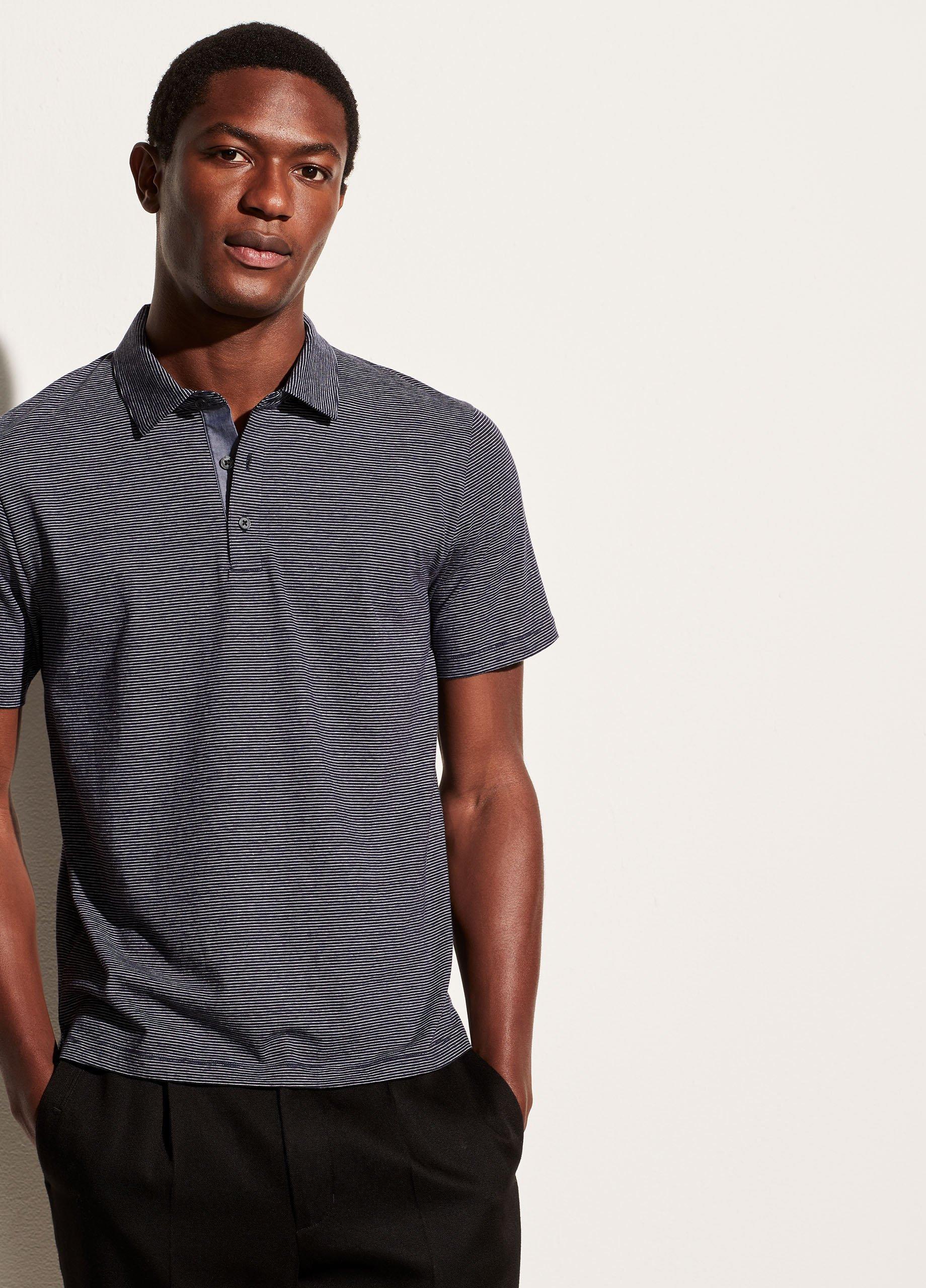 Cotton Silk Stripe Short Sleeve Polo