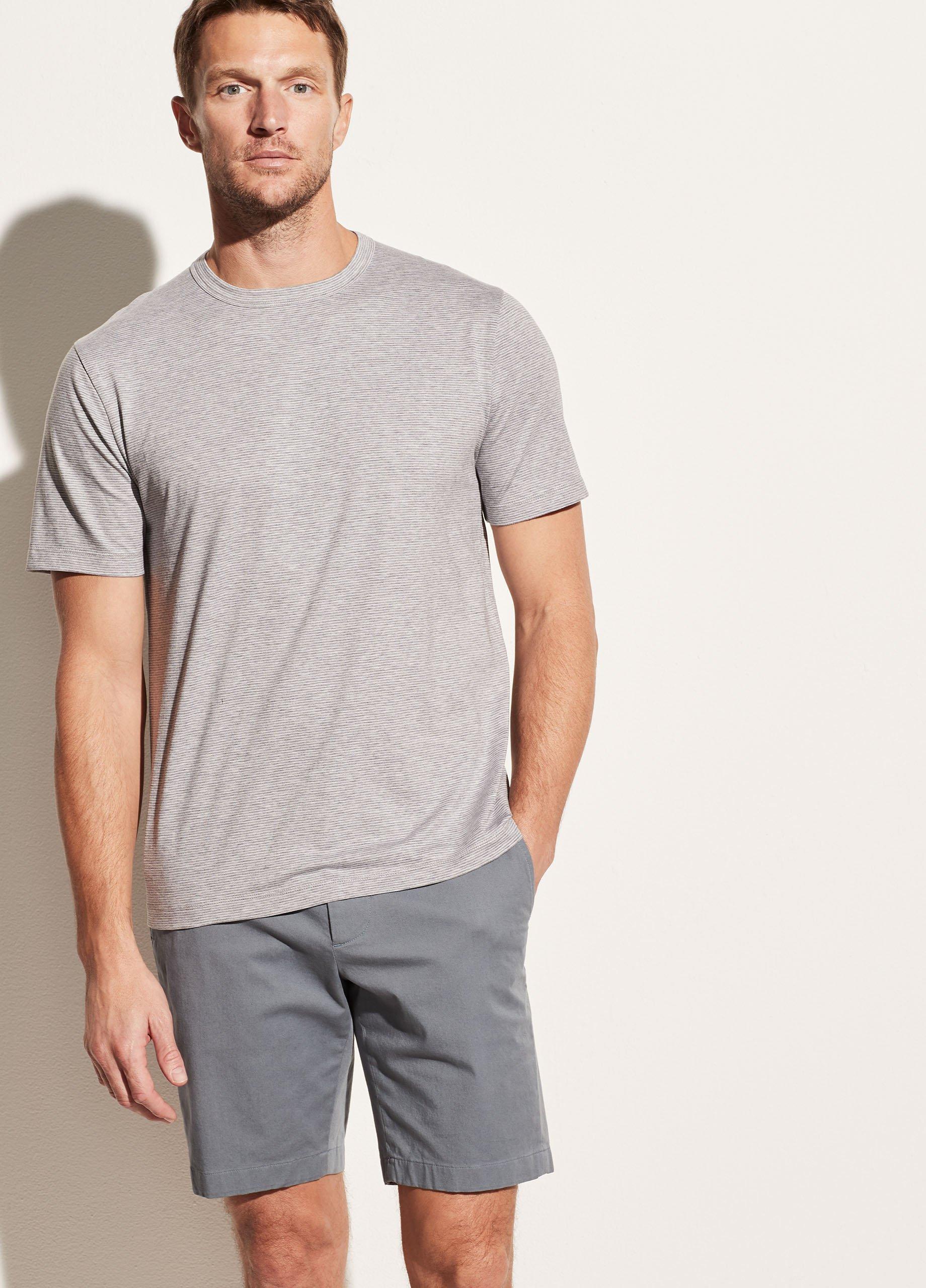 Cotton Silk Stripe Short Sleeve Crew