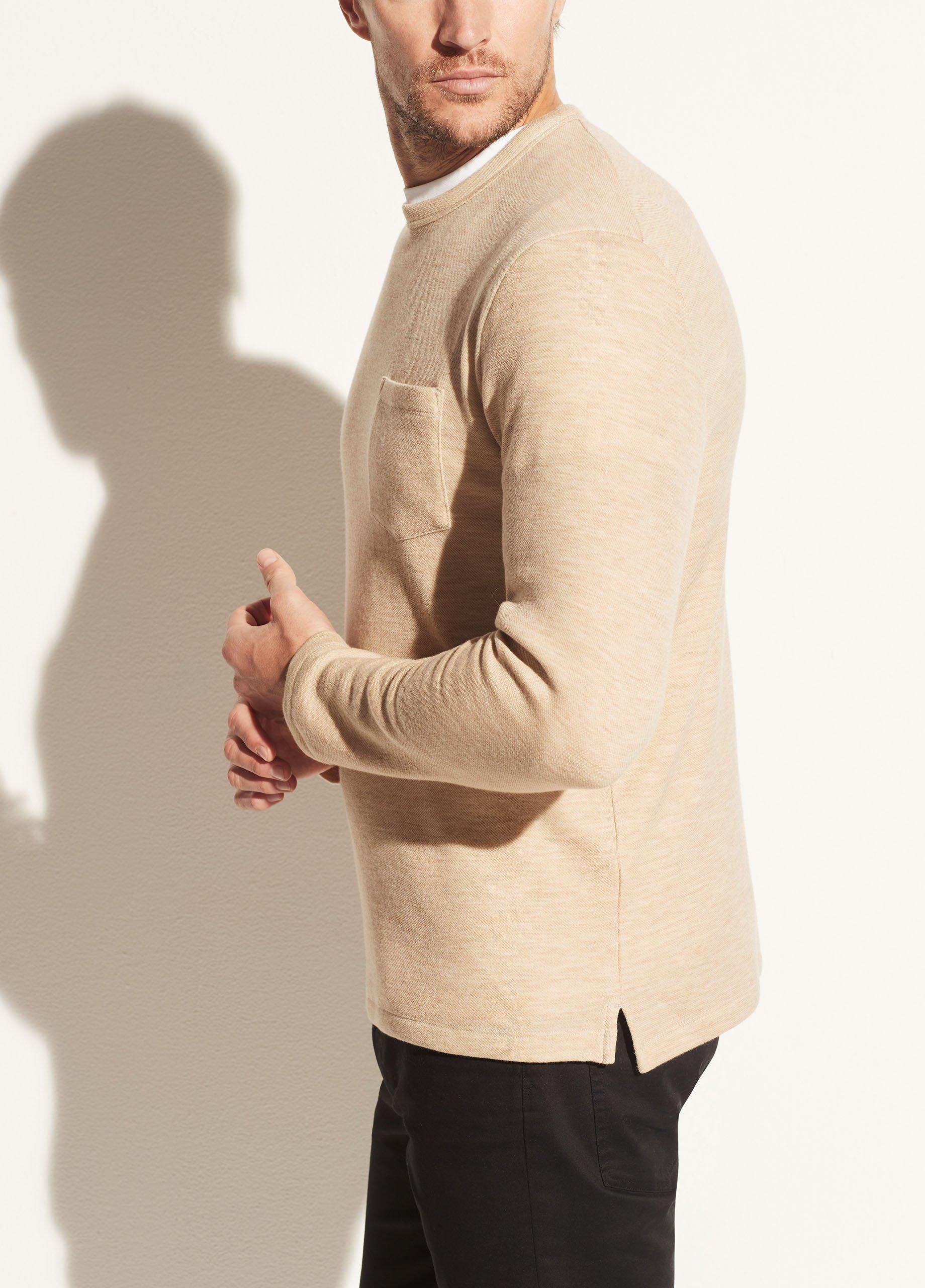 Merino Cashmere Long Sleeve Pocket Crew