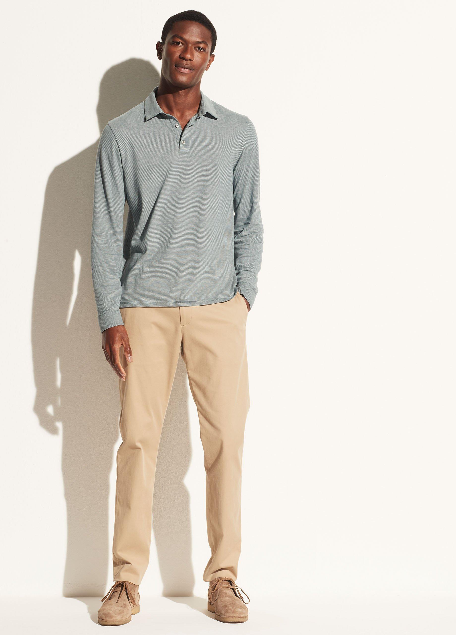Sueded Pima Stripe Long Sleeve Polo