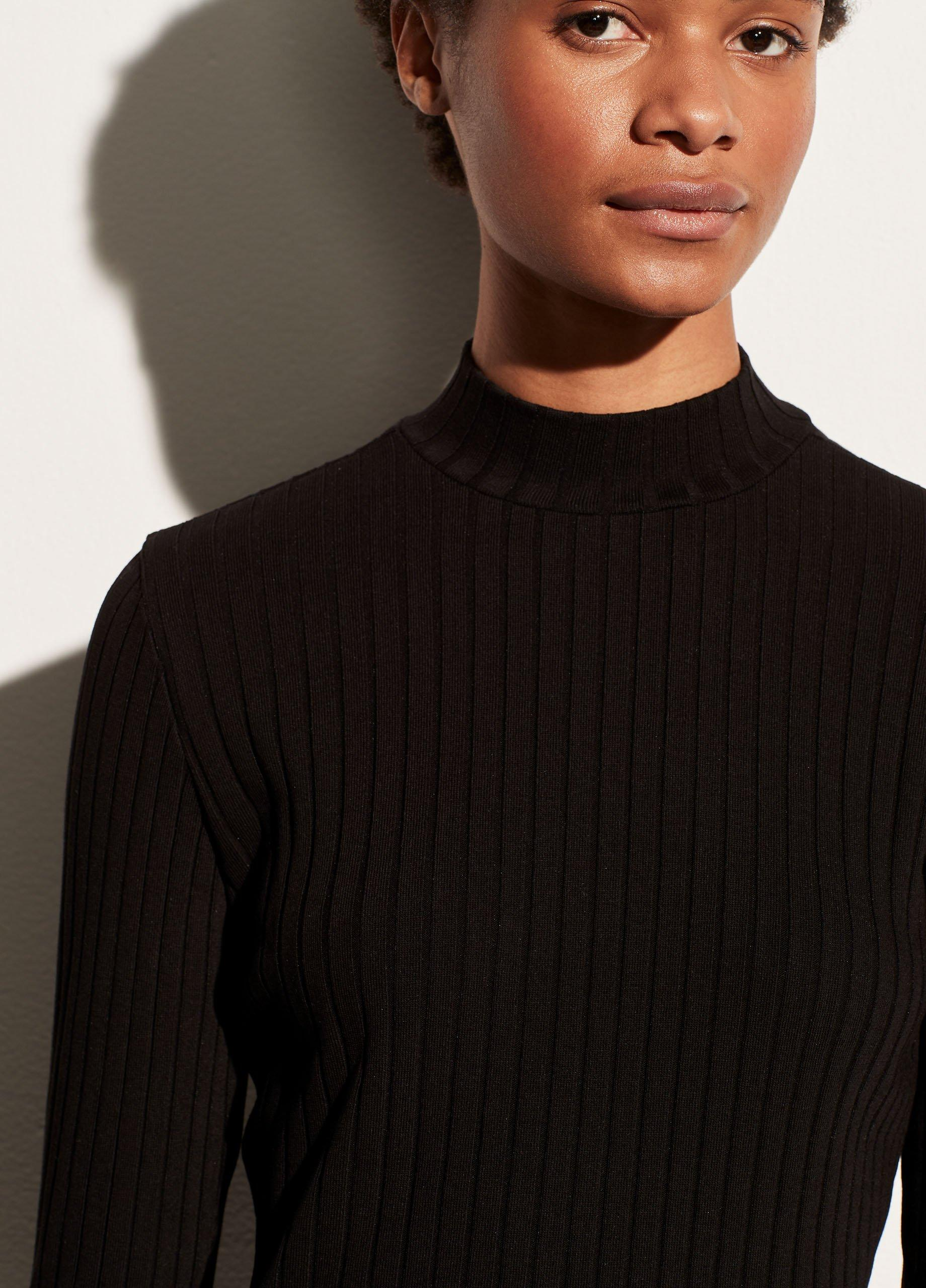 Ribbed Long Sleeve Mock Neck Pullover