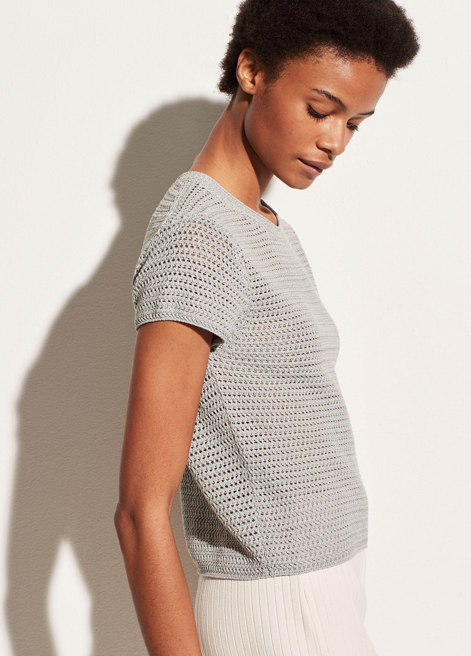 Crochet Short Sleeve Mock Neck