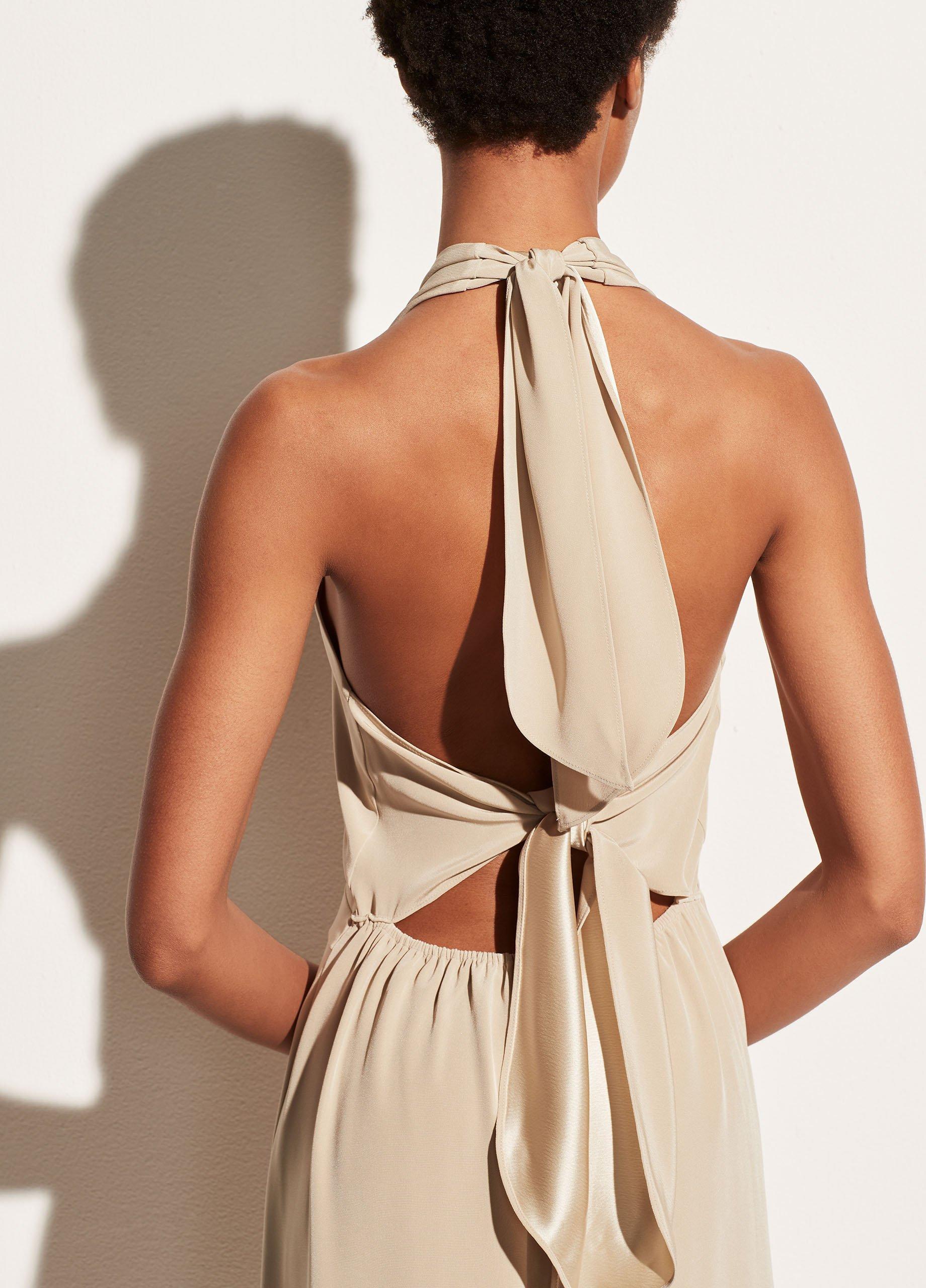 Tie Back Paneled Halter Dress