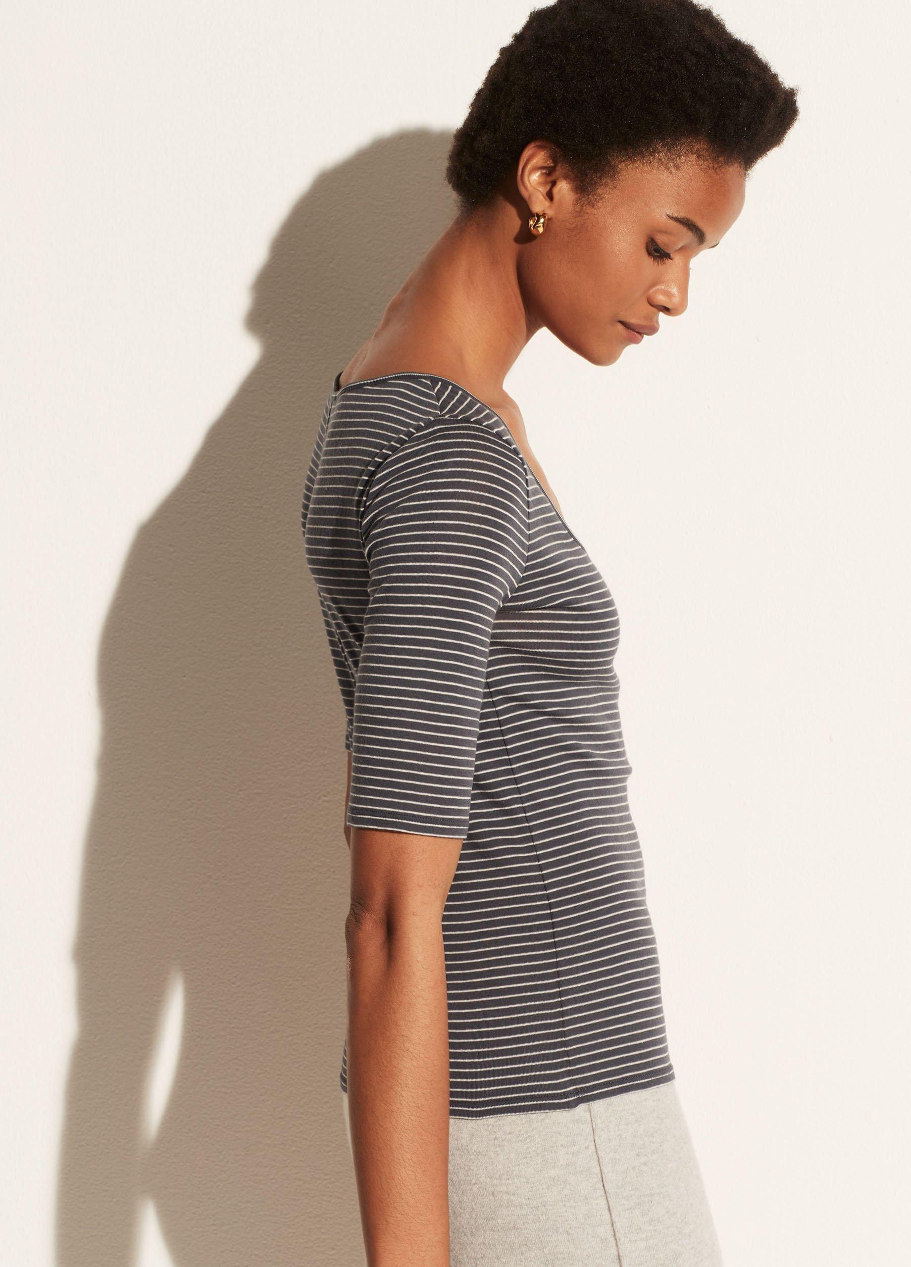 Micro Stripe Elbow Sleeve Scoop Neck