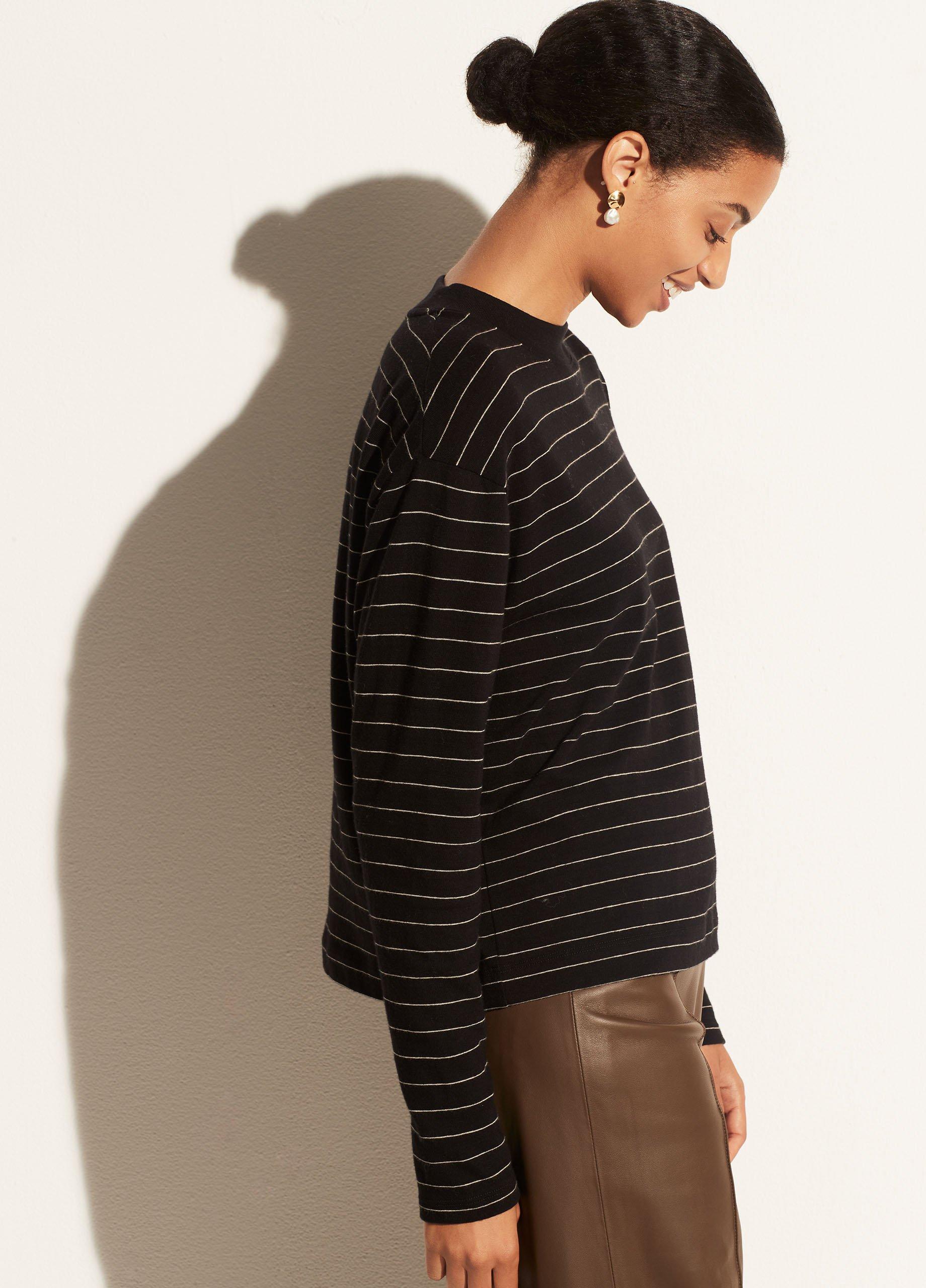 Chalk Stripe Long Sleeve Mock Neck Pullover