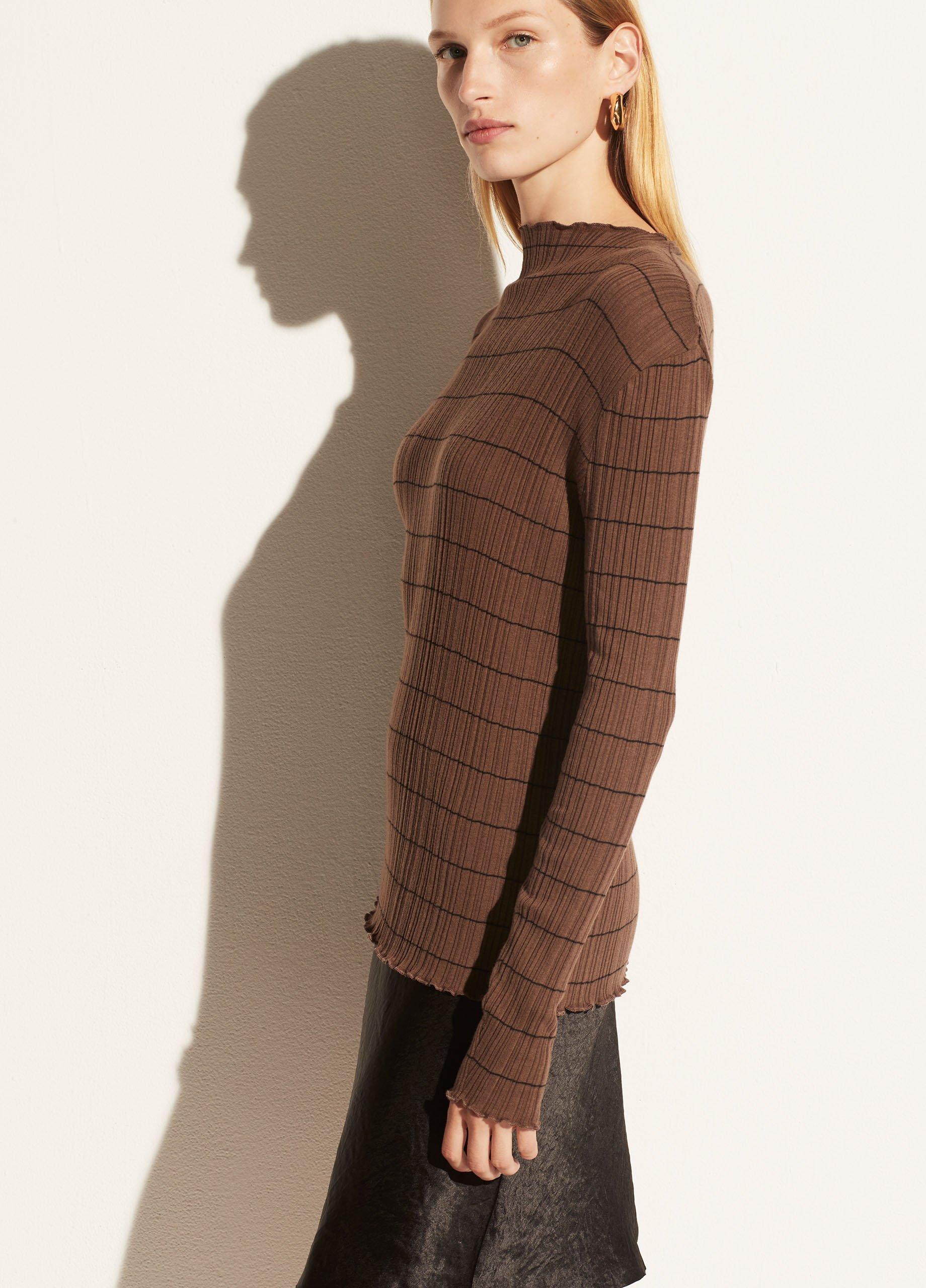 Variegated Stripe Mock Neck Long Sleeve