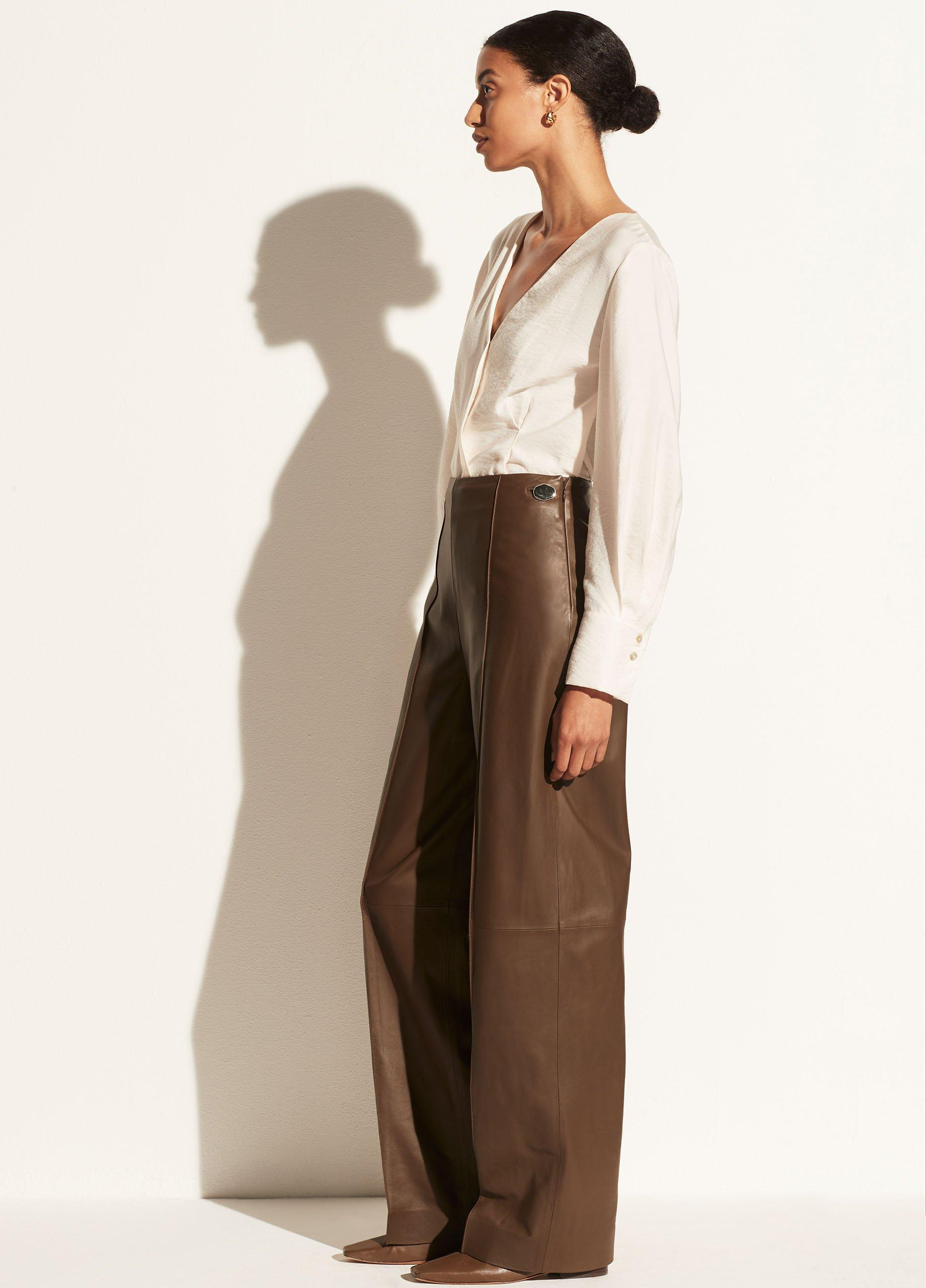 Leather Pintuck Pant