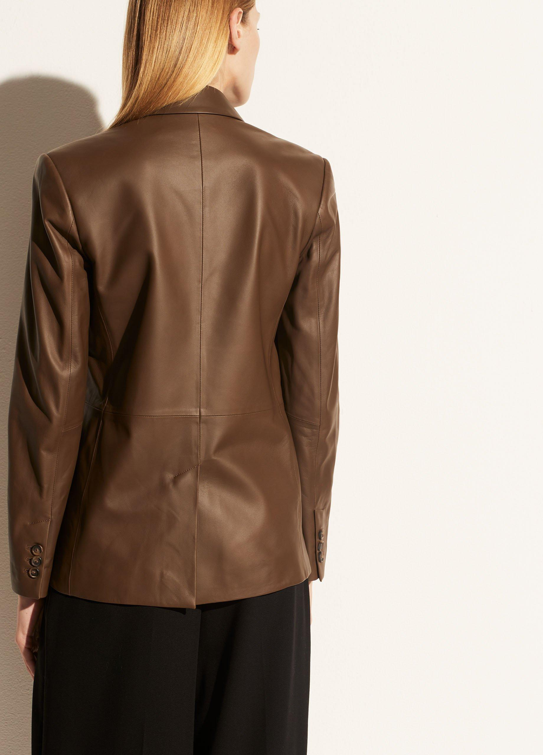 Leather Double Breasted Blazer