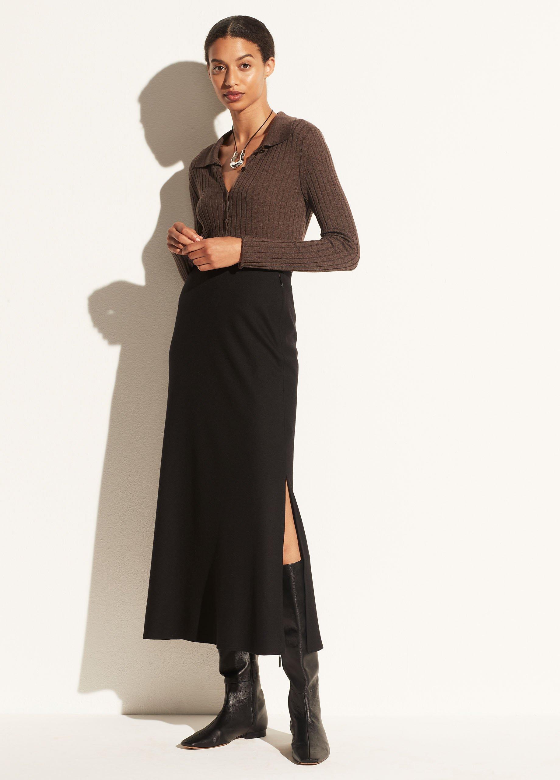 Brushed Flannel Side Slit Slip Skirt