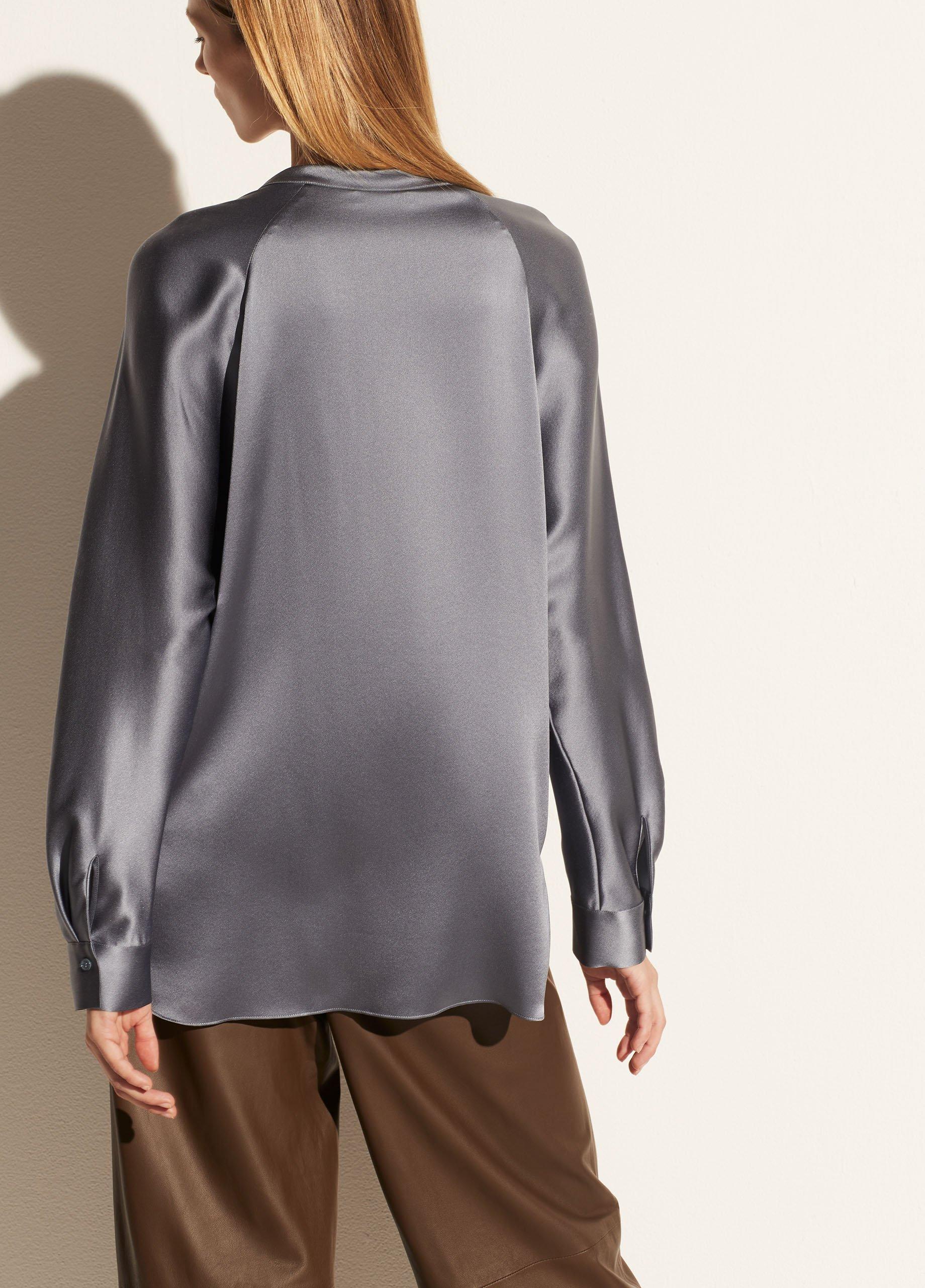 Silk Band Collar Blouse