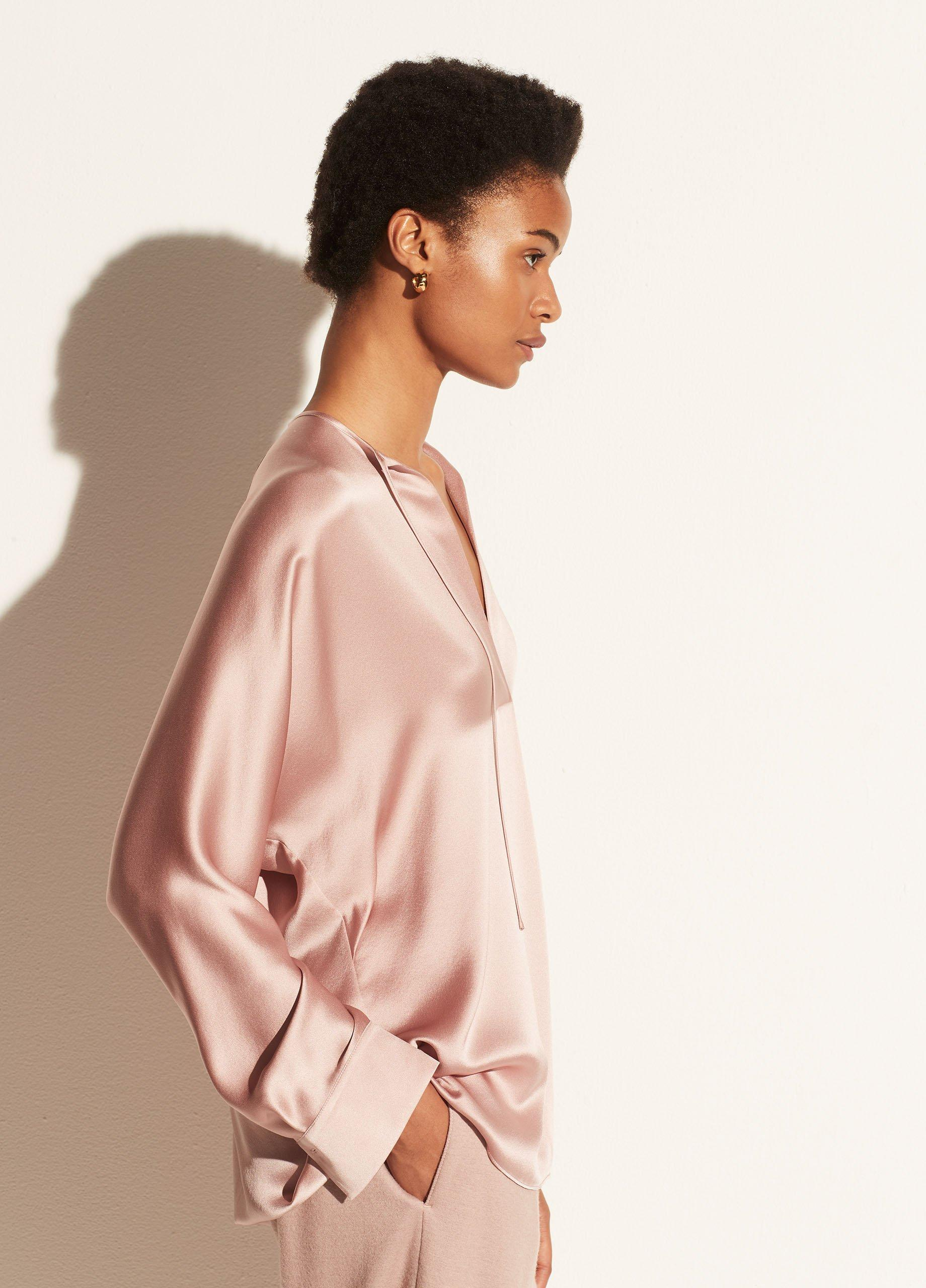 Tie Neck Band Collar Blouse